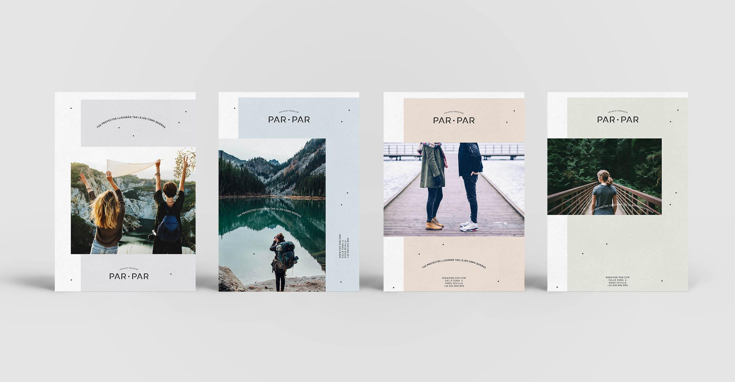 Diseño gráfico de folleto para la identidad corporativa de Par-Par